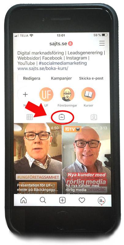 IGTV - mobiltelefon